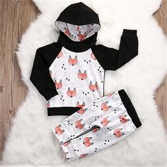 Toddler Kids Baby Boys Long Sleeve Hooded Skull Print Sweater Tops+Pants Outfits for Casual Beach Photoshoot Christmas Day Party squarex 0-24 Months Baby Outfit Set