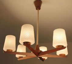 Danish Sputnik Light Lamp Chandelier Mid Century Teak Glas 50s 60s Nelson Eames   eBay