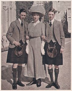 A young Princess Mary in Scotland with the Prince of Wales and the Duke of York. From The Illustrated London News Wedding Number (on the occasion of her marriage to Viscount Lascelles), March 4, 1922. Princess Mary and Viscount Lascelles lived at Goldsborough Hall throughout the 1920s.