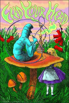 Alice In Wonderland Caterpillar Hookah Black Light Poster ☮ ☮ Hippie Style ☮ ☮