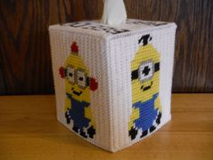 Minion Tissue Box Cover  Plastic Canvas by ShanaysCreation on Etsy, $15.00