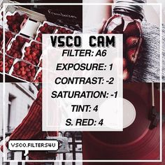 (Julia)| Red Filter ☁️| Looks best with dark pictures ‼️| Click the link in my bio to get free vsco filters ❤️| Get this to 60 likes for another tutorial | Dm us with any suggestions Requested by: @zefania_sf Credit to @tumblrfxed ___ Qotd: Strawberries or Raspberries?