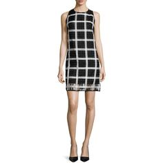 Milly Sleeveless Grid-Pattern Organza Shift Dress ($410) ❤ liked on Polyvore featuring dresses, kohl dresses, black sleeveless dress, organza dress, pattern dress and milly dresses