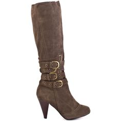 Keep your vibe stylish in this up to the minute Naughty Monkey boot.  Concur features a dark taupe suede upper with an array of buckles at the shaft.  A 3 inch heel and inside zip perfect this all purpose style.