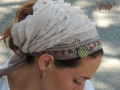 Lovely Beige Headband,tichel,Hair Snood, Head Scarf,Head Covering,jewish headcovering,Scarf,Bandana,apron by saraattalidesign on etsy