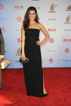 Cote de Pablo Evening Dress - Cote de Pablo was simply chic at the ALMA awards in a black strapless dress with a sexy side split.