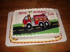 Fire Truck cake - Fire Truck is made from a frozen buttercream transfer.  Road is MMF.