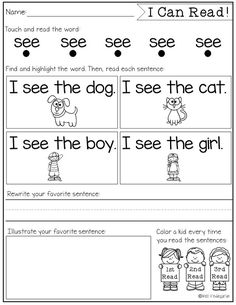 Sight Word Fluency and Reading Intervention - Miss Kindergarten Miss Kindergarten, Kindergarten Language Arts, Kindergarten Sight Words, Learn To Read Kindergarten, Kindergarten Guided Reading, Learning Sight Words, Sight Word Practice, Sight Word Book, Sight Word Readers