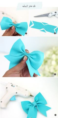 new ideas baby diy sewing homemade gifts children Ribbon Crafts, Felt Crafts, Ribbon Diy, Sewing Projects, Craft Projects, Diy Bebe, Felt Bows, Diy Couture, Diy Hair Bows