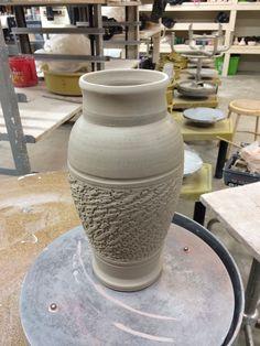 Chattered pot I finished tonight :) #ceramics #pottery