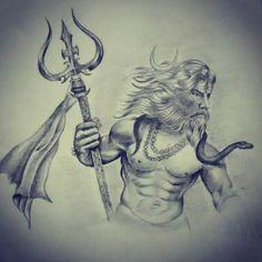 Shiva Tattoo By Bhavesh Kalma Shiva Art, Shiva Shakti, Lord Shiva Sketch, Mahadev Tattoo, Shiva Tattoo Design, Greek Mythology Tattoos, Kali Hindu, Warrior Drawing, Lord Shiva Pics