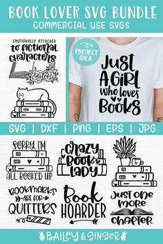 Fun SVG bundle for a book lover, English teacher or avid reader. Cute book saying cut files - make your favorite bookworm a mug or t-shirt gift with this design bundle! #affiliatelink #baileyandginger #svgcutfiles #svgforcricut