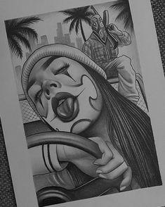 Badass Drawings, Chicano Drawings, Dark Art Drawings, Tattoo Design Drawings, Art Drawings Sketches, Chicano Tattoos Sleeve, Chicano Style Tattoo, Arte Cholo, Cholo Art