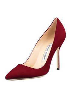 BB Suede 105mm Pump, Claret (Made to Order) by Manolo Blahnik at Neiman Marcus.