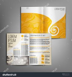 Yellow business brochure design template with spirall elements. Vector flyer layout, cover, poster design.