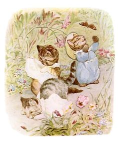 Moppet and Mittens walked down the garden path unsteadily. Presently they trod upon their pinafores and fell on their noses. Tale of Tom Kitten