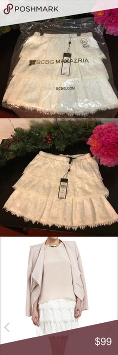 "NWT BCBGMAXAZRIA Justina XXS Tiered A-Line Skirt This romantic brand new BCBG skirt will brighten and refresh any look. I purchased this online for an event and didn't go, and I never worn it. It has always been in the original hanging garment bag. Measures approximately 16.5"" from waist to hem. Can be dressed up or down. Perfect for day or night. 👠 Feel free to make an offer. BCBGMaxAzria Skirts A-Line or Full"