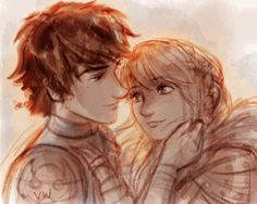 vivedessins:  Hiccup and Astrid fanart WIP!I saw it yesterday and I don't know what to do with all these feelings laying around