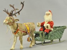 Both Santa and noble reindeer are clockwork nodders, the kind looking, blue eyed Santa sits in large wicker sled with. on Nov 2016 Antique Christmas, Christmas Past, Vintage Christmas Cards, Christmas Items, Christmas Crafts, Vintage Santa Claus, Vintage Santas, Vintage Dolls, Father Xmas