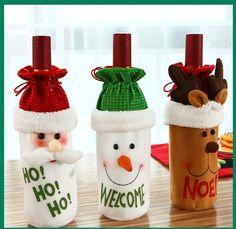Dust Covers Household Merchandises Hot Sale 1pcs Table Decorations Wine Bottle Cover Ornament Wedding Table Decorations Novelty Decoration Snowman Santa Clause L