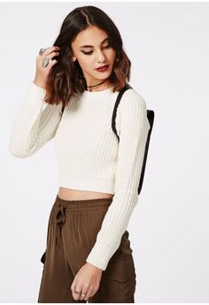 Berte Cropped Jumper - Knitwear - Jumper - Missguided