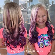 "Little girl summer hair! Pink purple and blue! 1 Likes, 1 Comments - Tiffany Allen (@tiffanydoeshairr) on Instagram: ""Birthday hair for Cali!!"""