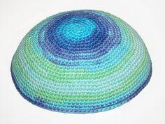 kippah turquoise blue and green by crochetkippah on Etsy