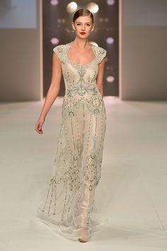 Art Nouveau vintage inspired Gwendolynne 'Nouveau' Wedding Dress at Mercedes-Benz Fashion Festival Sydney. Hair: Redken Make up: Maybelline New York - Australia