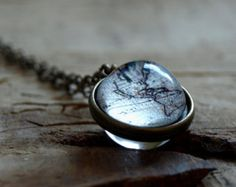 World Map Necklace Sterling Silver Globe Pendant by sevgijewelry