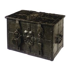 A GERMAN IRON STRONGBOX 17TH CENTURY painted black, the hinged lid with covered keyhole, the lock shooting ten bolts, the lockplate painted with the bust of an emperor among scrollwork, the front with false keyhole, hasps and a padlock height 48cm., width 75cm., depth 48.5cm.