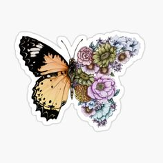 Blue Butterfly Discover Butterfly in Bloom II Sticker by ECMazur Stickers Cool, Stickers Kawaii, Tumblr Stickers, Printable Stickers, Laptop Stickers, Funny Stickers, Journal Stickers, Planner Stickers, Homemade Stickers