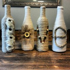 Make use of empty wine bottles with these ten creative DIY bottle upcycling projects. Yarn Bottles, Twine Bottles, Reuse Wine Bottles, Wine Bottle Corks, Diy Bottle, Wine Bottle Crafts, Jar Crafts, Wrapped Bottles, Glass Bottles
