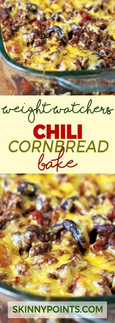 Weight Watchers Chili Cornbread Bake Recipe - come with 8 weight watchers Smart Points : skinnypoints Weight Watchers Chili, Weight Watchers Casserole, Weight Watcher Dinners, Plats Weight Watchers, Weight Watchers Smart Points, Weight Watchers Chicken, Weight Watchers Recipes With Smartpoints, Weight Watcher Recipes, Weight Watcher Girl