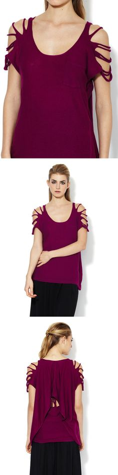 WANT IT :: L.A.M.B. Slashed Sleeve Sweater Tee :: Retail $175, gilt $105 | gilt.com :: Available in Dark Fuscia or Rope (like a light latte color). Knit tee. Cut-outs at sleeves, patch pocket at front, draped semi-attached panel at back, extended front hem, tonal top stitching, panel seaming. :: Love that fuschio top! | #lamb #cuttee #cutshirt #gilt