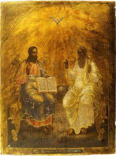 Paternitas 1855 State Museum of Palekh Art, Palekh, Russia Religious Images, Religious Icons, Religious Art, Byzantine Icons, Byzantine Art, Catholic Religion, Catholic Art, Church Icon, Black History Books