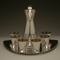 Gallery 925 - Cocktail pitcher, cups and tray, Handmade Sterling Silver. Circa 1950s