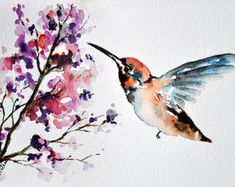 ORIGINAL Watercolor Painting, Neutral Colored Hummingbird With Lavender Flowers, Bird Art 6x8 Inch