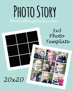 Photo Story Template with 9 photo squares