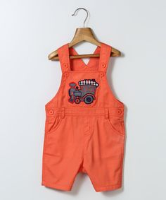 Love this Coral Train-Appliqué Shortalls - Infant & Toddler by Beebay on #zulily! #zulilyfinds