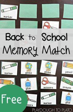 Free Back to School Memory Match - Playdough To Plato