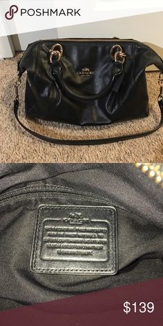 Coach Satchel Purse Coach Black leather satchel with gold hardware. Has two handles and an additional strap that can hang below the bag or be used for your shoulder. Great condition! Comes from smoke free, pet free home. Coach Bags Satchels