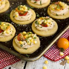 Honey Shortbread Bites with Smoky Creamy Cheese, Sweet Corn & Tomatoes {interesting flavors}