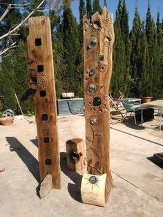 con tableros extraidos de las minas de sal he creado estas dos esculturas incrustando cristales y diodos led, madera centenaria