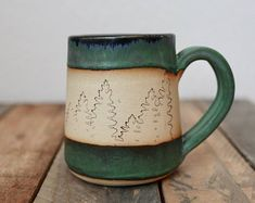 Forest mug; slab mug, handmade, handbuilt, coffee cup, tea cup, coffee mug, pottery, ceramic