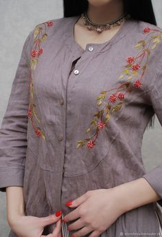 """Charming embroidery kit - a sundress and a shirt """"Berry summer"""" – shop online on Livemaster with shipping - Embroidery On Kurtis, Hand Embroidery Dress, Kurti Embroidery Design, Embroidery Neck Designs, Embroidery On Clothes, Embroidered Clothes, Embroidery Fashion, Simple Kurti Designs, Kurta Designs Women"""