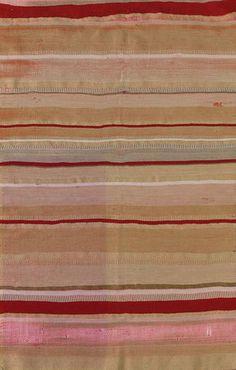Gunta Stölzl | pillowcase | warp: cotton: red | weft: rayon: red + beige + brown + light green + white | Bauhaus: Weimar, Germany | c. 1920-'21 . Linen weave. W. Bauhaus-Archiv, Berlin. Germany