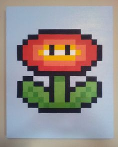Love it! Great birthday or Christmas present for a gamer. Super Mario Fire Flower 8 Bit by Pixel8Gallery Etsy