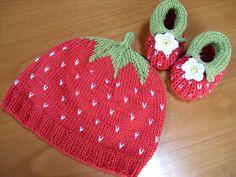 """Set: Mütze+Schuhe """"Erdbeeren"""" für Babies 3-6 M"""