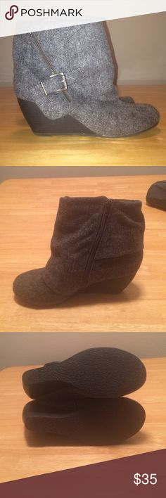 Gray herringbone cloth booties Gray wedge booties--cloth herringbone exterior and 3 inch wedge heel. Functional zippers. Extremely comfortable! Worn a handful of times but still in good condition. Slight scuff marks on heels. Blowfish Shoes Ankle Boots & Booties