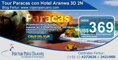 Tour a Paracas con Hotel Aranwa Paracas 3 Días 2 Noches   Desde $369 dólares por persona disfrutará de unas relajantes mini vacaciones en hotel de lujo de la cadena Aranwa y, sobre todo, la oportunidad de explorar la fastuosa diversidad natural de Paracas. (Válido para compras hasta el 31 de marzo de 2015, no aplica en Semana Santa o feriados largos).